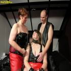 This chubby mature slave gets it good