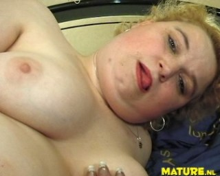 Blonde chubby mature slut getting off on a toy and a cock