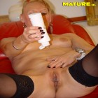 This horny blonde mature slut loves playing with herself