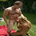 Blonde MILF getting nasty in the garden