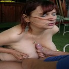 Mature slut fucked in the open air