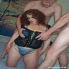 Big titted housewife getting done by two guys