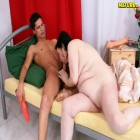 milky white chubby mature is teaching her cousin how it's done