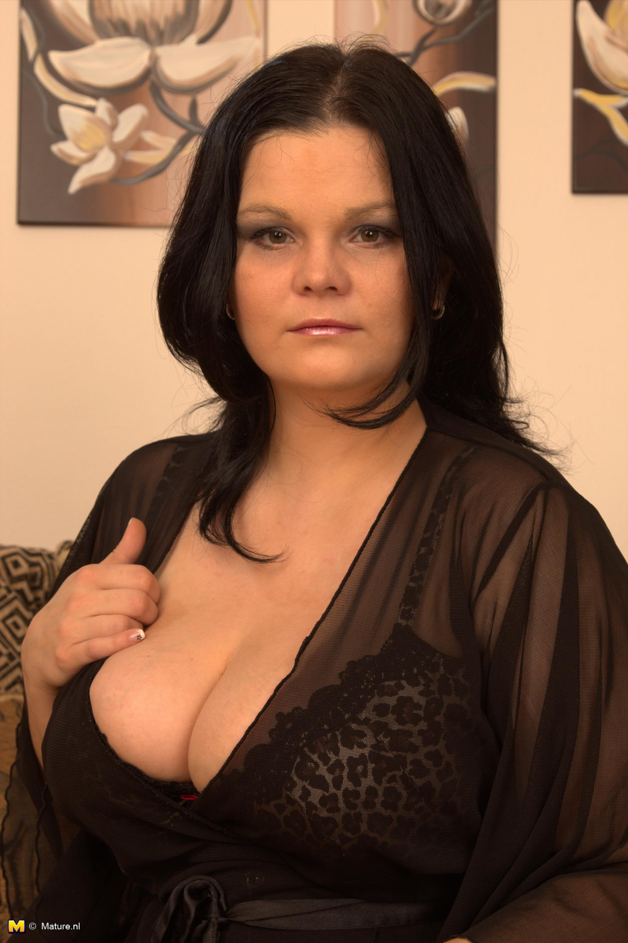 Lovely milf with huge boobs pleasures herself 7