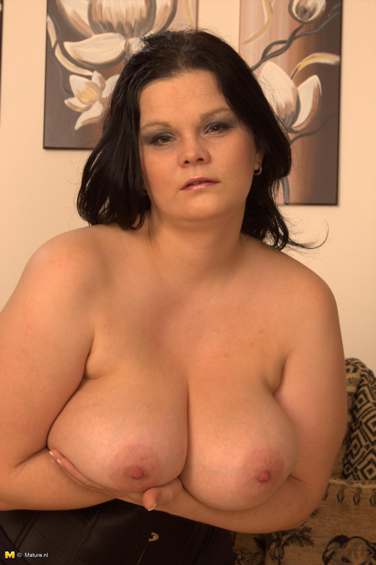 Lovely milf with huge boobs pleasures herself 3