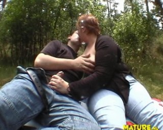 Horny chubby mature couple having sex in the woods