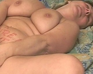 Horny chubby mature slut masturbating and sucking cock