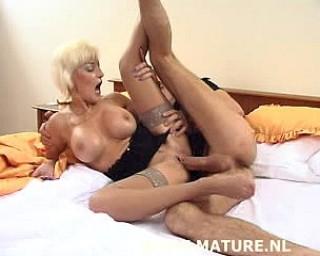 Hot blonde MILF fucking and sucking