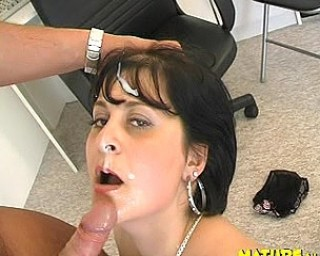 Fill her mature face with cum, she loves it