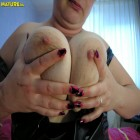 Big chubby mature slut playing with a toy