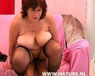 Chubby mature nympho sucking and fucking