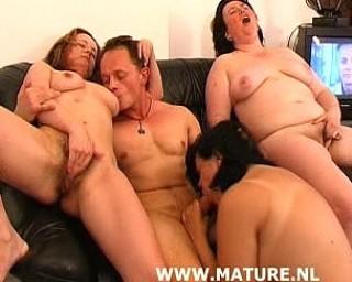Three mature sluts and one horny guy
