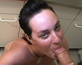 This huge hootered mature slut sucks and swallows