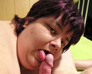 Fat mature slut eating on a hard cock