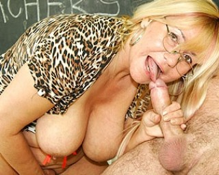 Big titted teacher fucking and sucking