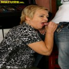 Mature blonde gives blowjob and gets stuffed
