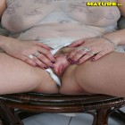 horny mature brunette plays with a dildo and gets fucked