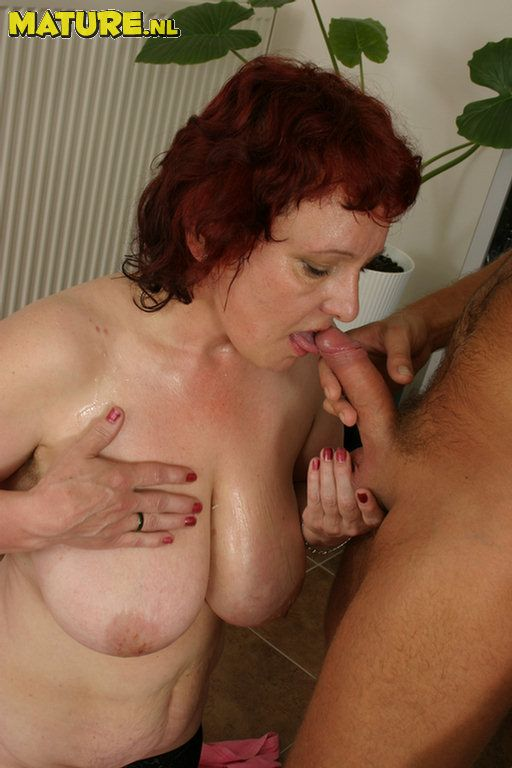 Mom sexy redhead sucks and fucks muscle man 9