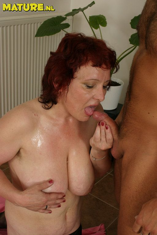 Mom sexy redhead sucks and fucks muscle man 3