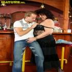 Horny mature slut fucked in a bar