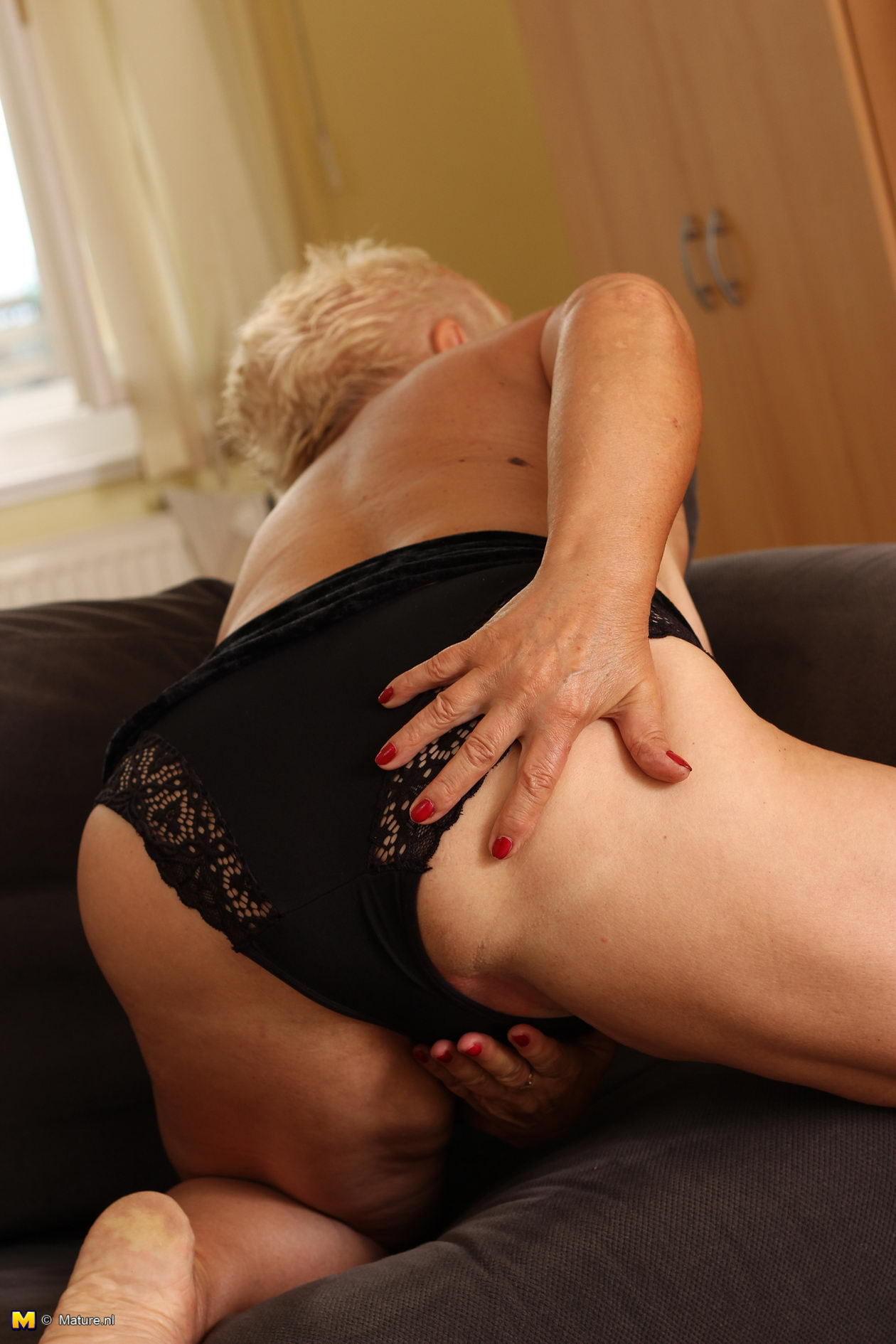 Blonde mature slut and young man 9