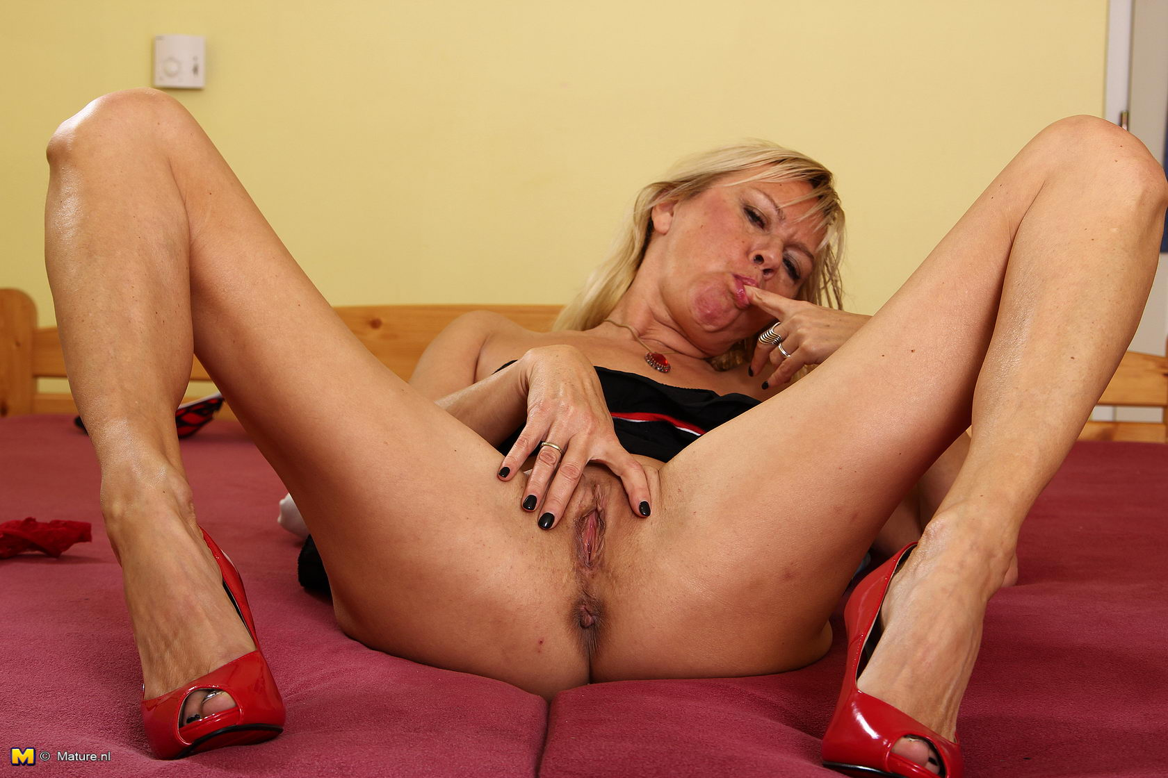 with herself milf playing Horny