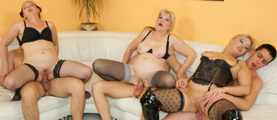 Three old and young lesbians enjoy each other 1