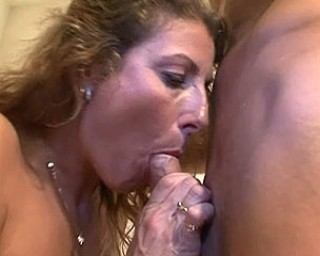 Horny housewife gives blowjob and gets laid