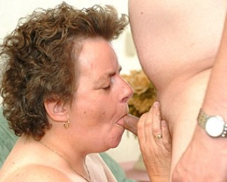 Chunky granny riding the cock on her couch