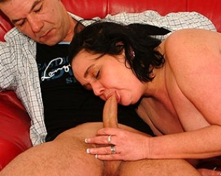 Older housewife giving blowjob