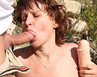 Mature mature Hairy mature slut fucked in the open air